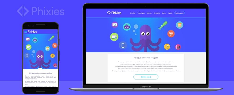 Phixies lança seu novo website utilizando sua própria plataforma.